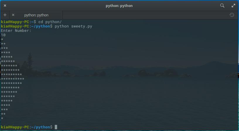 اسکریپت رسم یک مثلث در ترمینال با پایتون